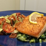 Baked Herbed Tomato Zucchini with Salmon