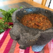 OMGs DFW Food - Classic Roasted Tomato Salsa in Molcajete